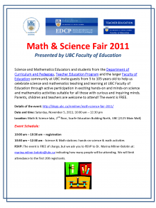 Faculty of Education Mathematics and Science Fair